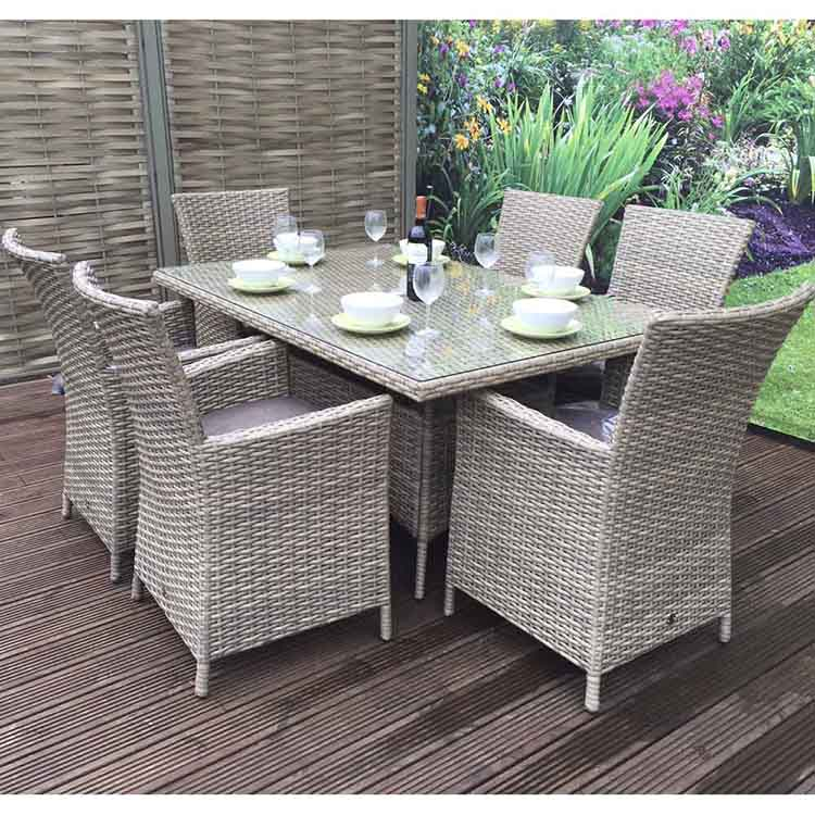 Signature Weave Darcey 6 Seater Rectangular High Back Dining Set