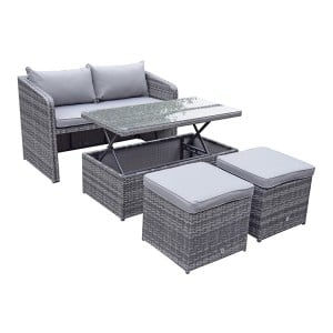 Signature Weave Garden Furniture Gemma Grey Stacking Compact Sofa Dining Set