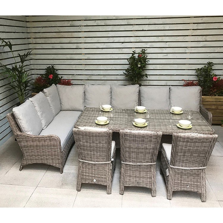 Signature Weave Garden Furniture Alexandra Large Corner Dining Set With Sofa and 3 Chairs