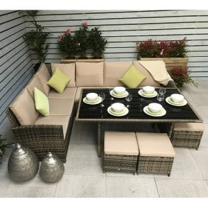 Signature Weave Charlotte Corner Dining Sofa Set In Nature/Brown
