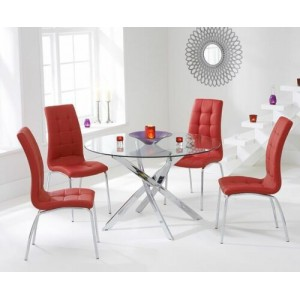 Daytona 120cm Round Glass Dining Table & 4 Red California Chairs