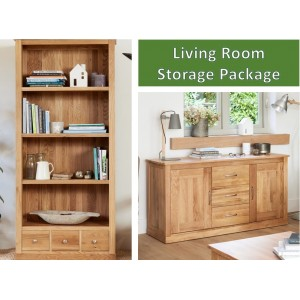 Mobel Oak Large 3 Drawer Bookcase & Large Sideboard