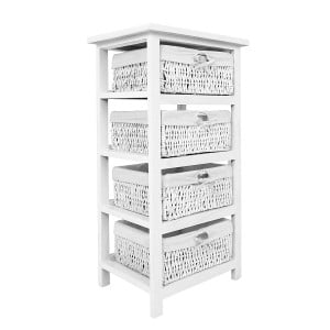 Coral Rustic Painted Furniture White Storage Unit with 4 Drawers
