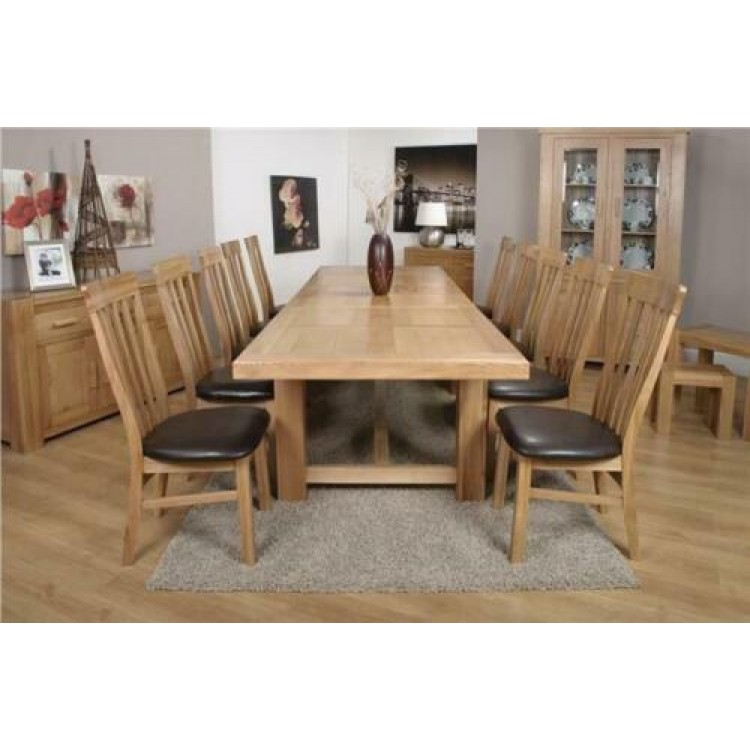 Bordeaux Solid Oak Furniture Grand Table & Lucia Chairs Set