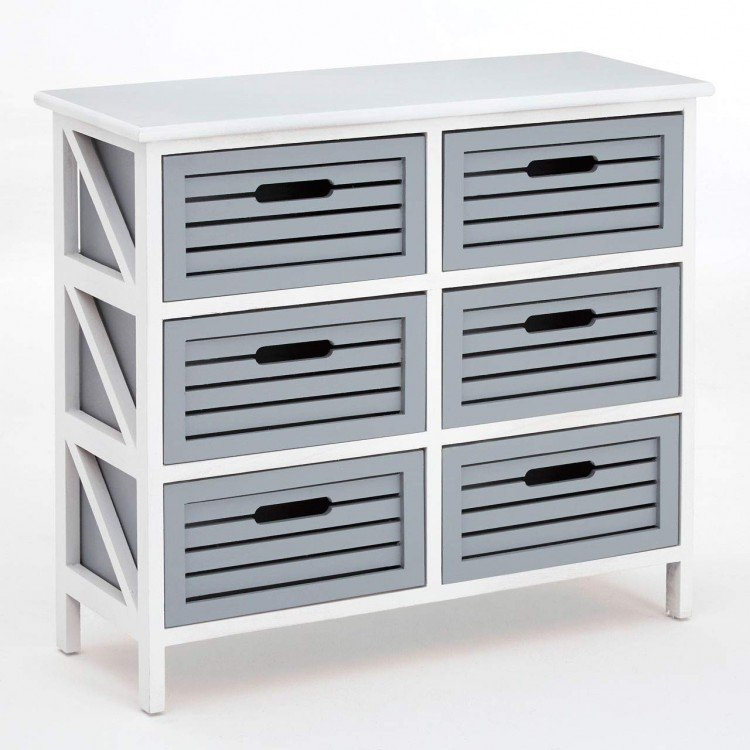 Coral Rustic White and Grey Furniture 6 Drawer Storage Chest
