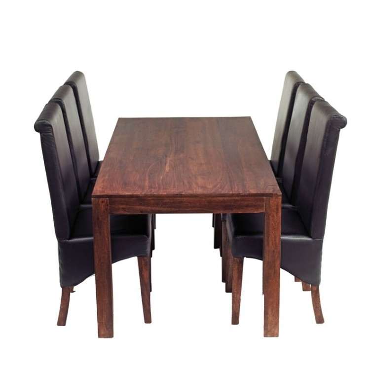 Toko Dark Mango Furniture Large 6ft Dining Table & Leather Chairs Set
