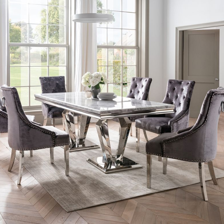 Vida Living Arturo Grey Marble 200cm Dining Table & 10 Belvedere Charcoal Chairs - PRE ORDER