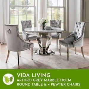 Vida Living Arturo Grey Marble 130cm Round Table & 4 Pewter Chairs