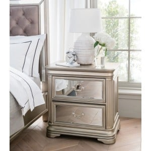 Vida Living Jessica Mirrored 2 Drawer Bedside Table