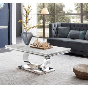 Vida Living Selene Bone White Marble Furniture Coffee Table