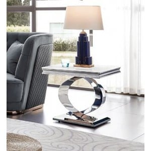 Vida Living Selene Bone White Marble Furniture Lamp Table