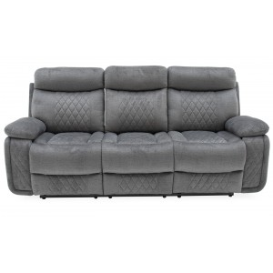 Vida Living Eason Grey 3 Seater Recliner Sofa with Tray