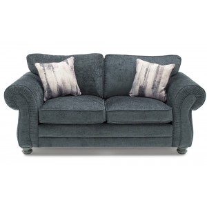 Vida Living Furniture Hollins Charcoal Fabric Fixed 2 Seater Sofa with 2 Scatter Cushions