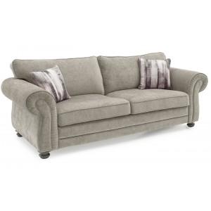 Vida Living Furniture HollinsMink Fabric Fixed 3Seater Sofa with 2 Scatter Cushions