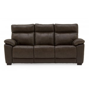 Vida Living Furniture Positano Brown Leather Fixed 3 Seater Sofa
