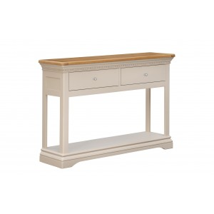 Vida Living Winchester Silver Birch Painted & Oak Furniture 2 Drawer Console Table