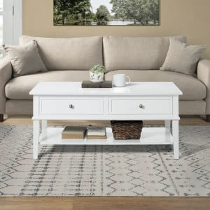 Franklin Wooden Furniture White Coffee Table with 2 Drawers