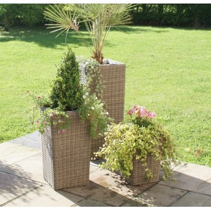 Maze Rattan Winchester 3 Shaped Tall Planters
