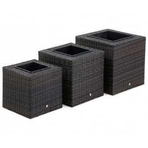 Maze Rattan Garden Furniture 3 Brown Square Planters