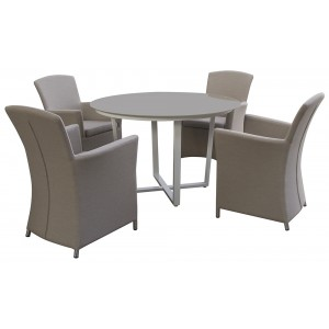 Maze Sunbrella Fabric Garden 4 Seater Round Soul Dining Set in Grey