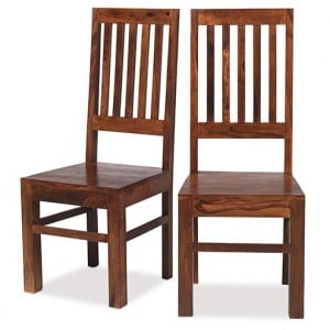 Kanpur Indian Sheesham High Back Slat Chair Pair