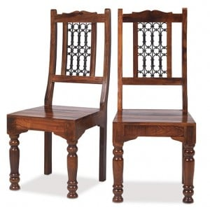 Kanpur Indian Sheesham Low Back Chair Pair