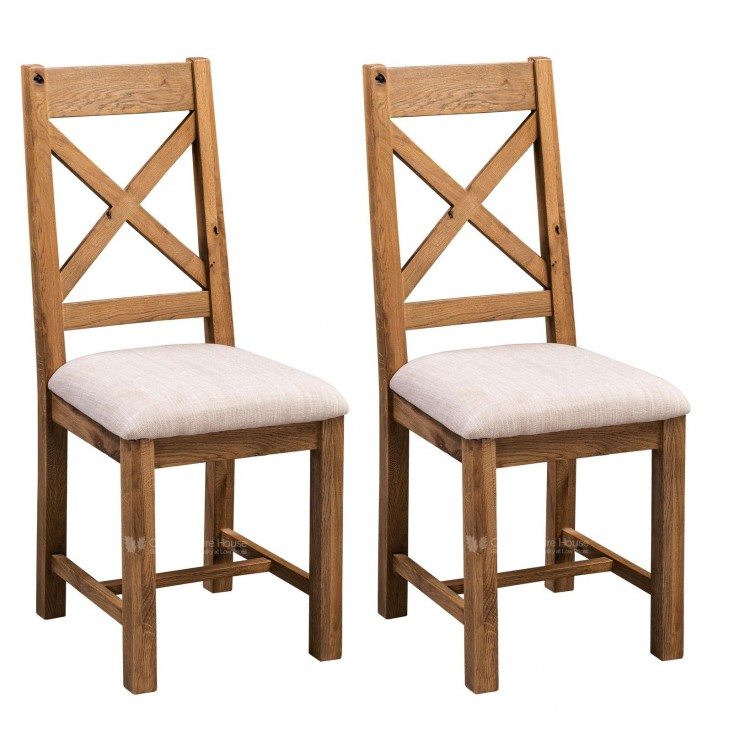 Aztec Solid Oak Furniture Rustic Cross Back Dining Chair Pair