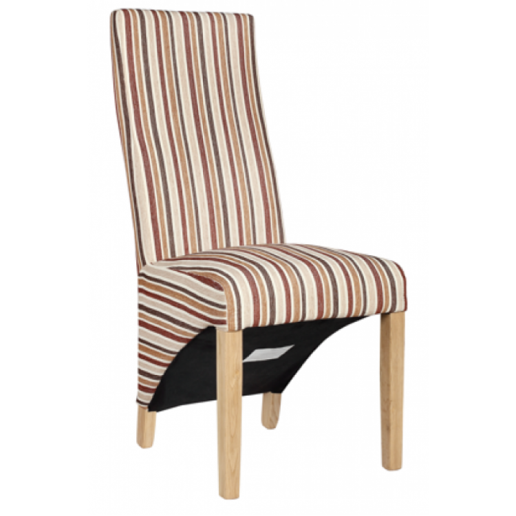 Homestyle Opus Oak Furniture Striped Fabric Chair Royal (Pair)