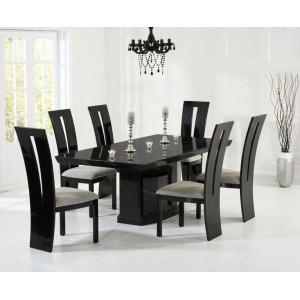 Mark Harris Como 200cm Black Marble Dining Table & Valencie Set