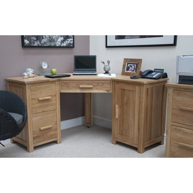 Opus Solid Oak Furniture Corner Computer Desk - PRE ORDER