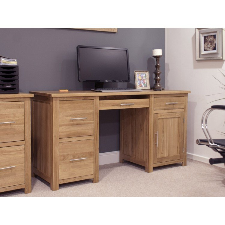 Opus Solid Oak Furniture Large Computer Desk