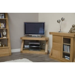 Z Solid Oak Furniture Corner TV Unit - PRE-ORDER