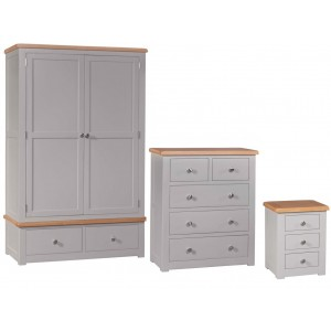 Diamond Grey Painted Double Wardrobe Bedroom Set