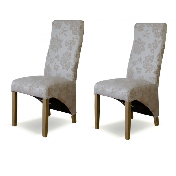 Floral Solid Oak Furniture Cream Fabric Wave Dining Chair Pair