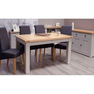 Diamond Oak Top Grey Painted Furniture Medium Extending Dining Table