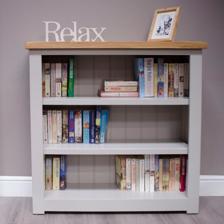 Diamond Solid Oak Grey Painted Furniture Small Bookcase
