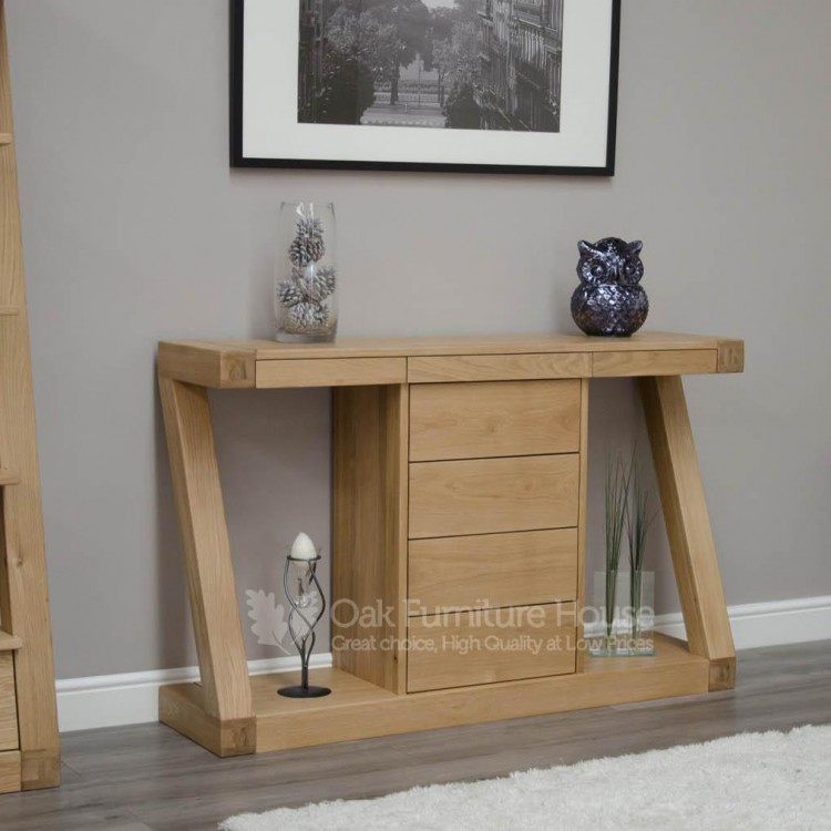 Z Solid Oak Funiture Wide Console Table With Drawer
