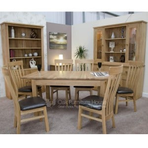 Opus Solid Oak Furniture Plain Top Extending Dining Table Twin Leaf