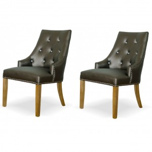 Marjukka Tungsten Button Dining Chair (Pair)