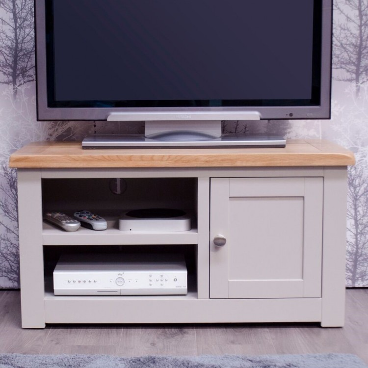 Diamond Solid Oak Grey Painted Furniture 1 Door TV Cabinet