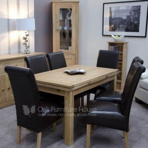 Opus Solid Oak Furniture 220cm Extending Dining Room Table