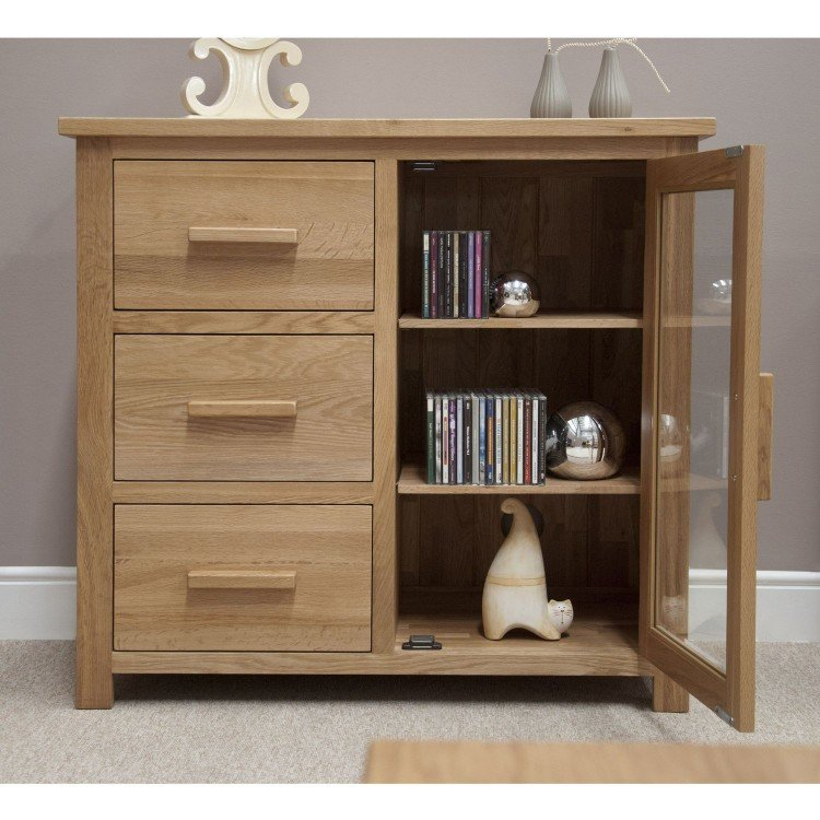 Opus Solid Oak Furniture Small Glazed Chest