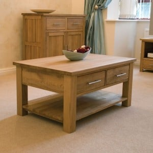 Opus Solid Oak Furniture Coffee Table with Drawers