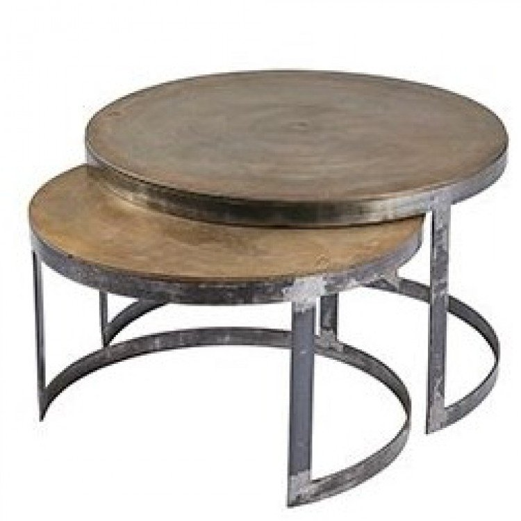 Ferro Circular Framed Antique Brass Nest of Tables