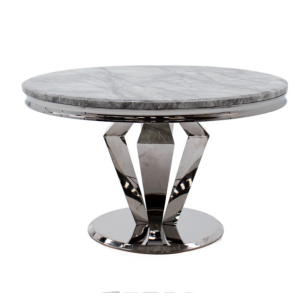 Vida Living Arturo Grey Marble & Chrome 130cm Round Dining Table Only