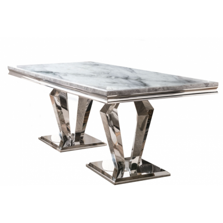 Vida Living Arturo Grey Marble and Chrome 180cm Dining Table Only