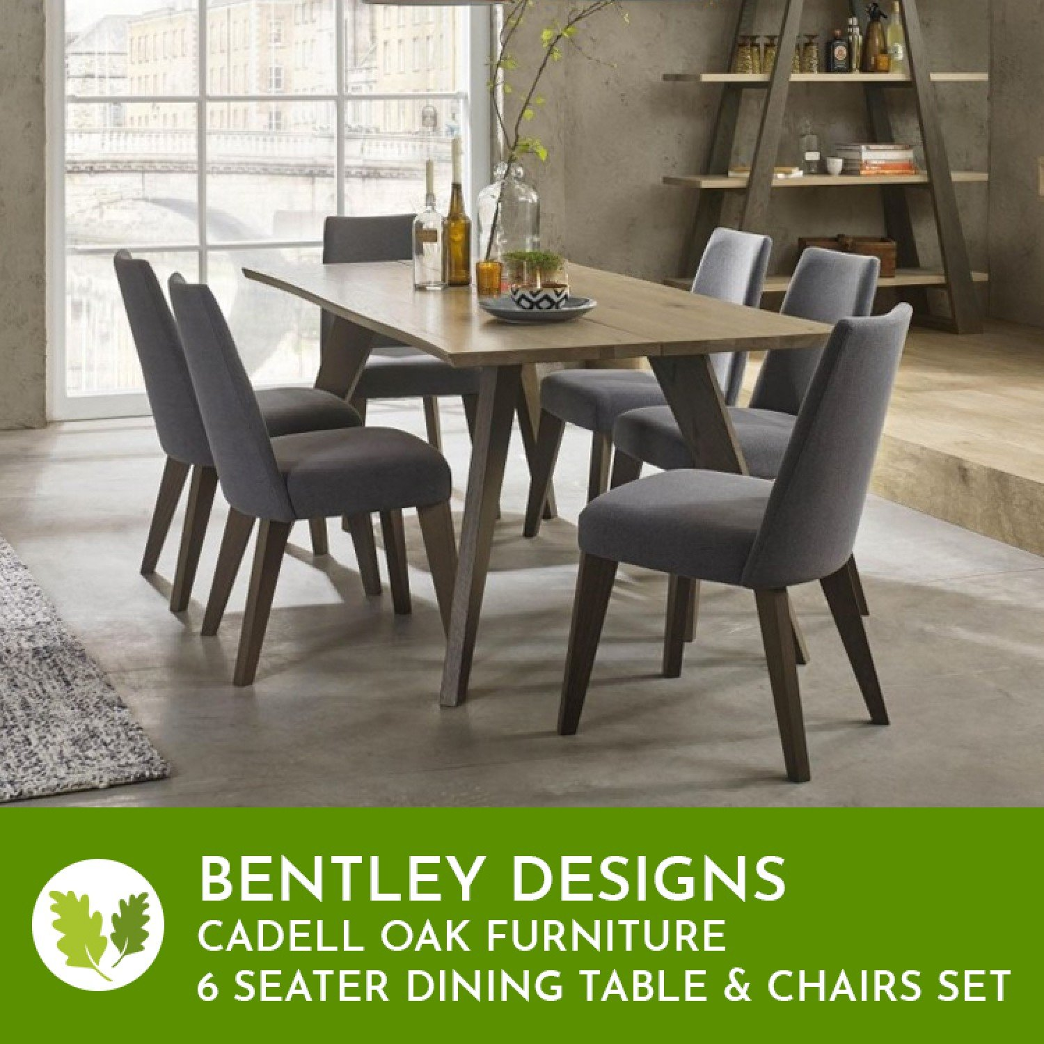 Bentley Designs Cadell Oak 6 Seater Dining Table Chair Set Oak Furniture House