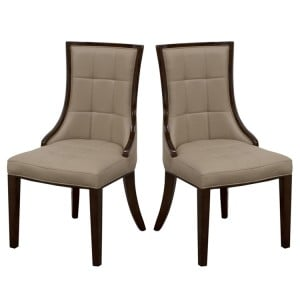 Vida Living Alfredo Marble Furniture Latte Faux Leather Dining Chair Pair