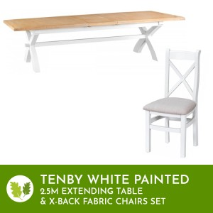 Tenby White 2.5m Cross Extending Table & X-back Fabric Chairs