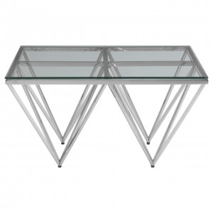 Premier Housewares Allure Chrome & Glass Spike Base Coffee Table